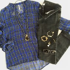#ootd Archive - Sheer Tartan Plaid Popover with Black Skinny Jeans and Kinsley Armelle Jewelry