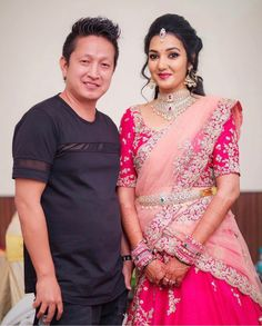 With gorgeous Shivani on her engagement. Half Saree Lehenga, Lehnga Dress, Bridal Lehenga Choli, Lehenga Gown, Saree Wedding, Half Saree Designs, Lehenga Designs, Saree Blouse Designs, Saree Hairstyles