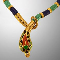 Classic Hattie Carnegie Egyptian Revival Snake Necklace from Easterbelle's Emporium Exclusively on Ruby Lane