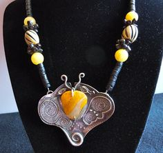 Fine Silver Handmade  PMC  Butterfly  Bumblebee by Silvermaven, $110.00