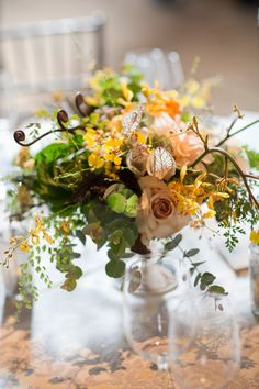 Berkshires Wedding from Karen Wise Photography Fern Wedding Table Centerpieces, Centerpiece Decorations, Floral Centerpieces, Floral Arrangements, Wedding Decorations, Centrepieces, Art Deco Wedding, Floral Wedding, Fall Wedding