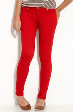 I know this is crazy but colored jeans are big for the fall! Especially in Red!