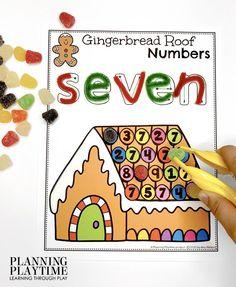 December Preschool Binder: Trace & Find Gingerbread Roof Numbers.