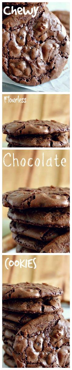 Chewy Flourless Chocolate Cookies by ifood #Cookies #Chocolate #GF