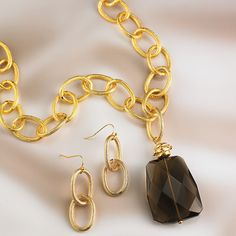 Smoky Quartz Pendant Necklace and Earrings