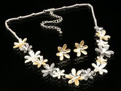 gray white gold enamel flower statement collar silver plate necklace earring N75 #accessory9