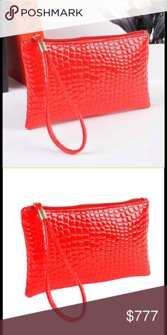 Coming Soon Crocodile Clutch Handbag Crocodile look faux leather clutch. Great for using causal, going out on the town. Has zipper on top. Please check out other items in my closet. New! Price Firm Unless Bundled Bags Clutches & Wristlets