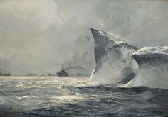 Iceberg in Danger in the North Atlantic Montague Dawson