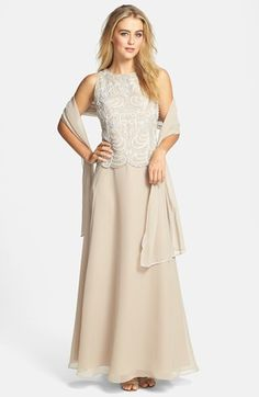 J Kara Embellished Bodice A-Line Chiffon Gown with Shawl #taupe #embellished #gown #two #tone #bridesmaid #bridesmaids #fashion #dress