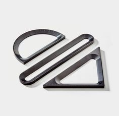 The measure collection set is designed to be displayed. Includes black ruler, protractor and triangle, entirely custom machined from solid aluminum, anodized black for a clean look. Id Design, Tool Design, Free Design, Protractor, Stationary Design, Modern Desk, Mechanical Pencils, Office Accessories, Desk Organization