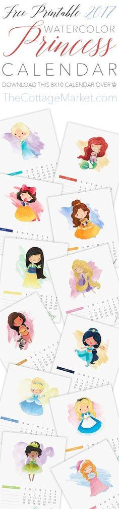 Free Printable 2017 Watercolor Princess Calendar! / Calendarios Princesas 2017