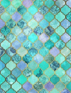 Cool Jade & Icy Mint Decorative Moroccan Tile Pattern Art Print by Micklyn - oooh perfect for mermaid bathroom :) Tile Patterns, Pattern Art, Pattern Cutting, Marble Pattern, The Magic Faraway Tree, Mermaid Bathroom, Mermaid Tile, Art Mural, Wall Art