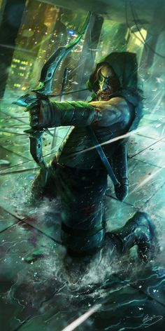 "Green Arrow by Lap Pun Cheung (^.^) Thanks, Pinterest Pinners, for stopping by, viewing, re-pinning, following my boards. Have a beautiful day! ^..^ and ""Feel free to share on Pinterest ^..^ #unocollectibles, #comics"