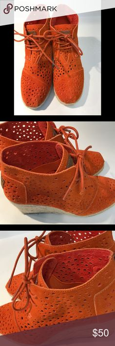 Gorgeous TOMS Moroccan Desert Wedges Orange Suede EUC cute cut out design! Super fun shoes!!! Toms Shoes Ankle Boots & Booties