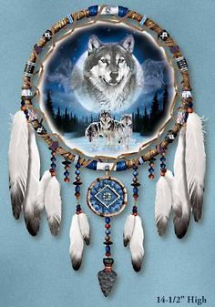 Native American Dreamcatchers   ... Of The Wild Wolf Art Native American-Style Dreamcatcher Wall Decor