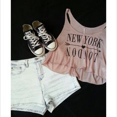 Crop top with high wasted shorts and converse