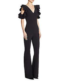 42b24dc55298 Chiara Boni La Petite Robe - Buffy Cold-Shoulder Flared Jumpsuit