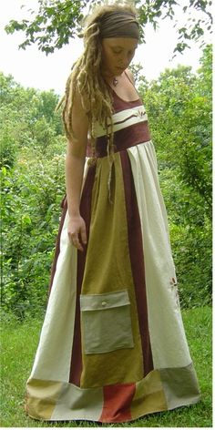 I love the patch work dress, but the dreadlocks do look good too Hippie Dresses, Hippie Outfits, Hippie Clothing, Vintage Clothing, Hippie Style, Bohemian Style, Gypsy Style, Trendy Outfits, Cool Outfits