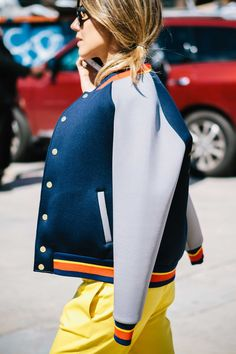 Colorful sport jacket look at Fashion Week