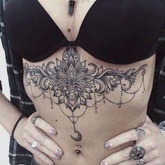 I like the idea that the moon rises like a chandelier but with a nice lotus … - Tattoos Abdomen Tattoo, Sternum Tattoo, Lace Tattoo, Trendy Tattoos, Tribal Tattoos, Body Art Tattoos, Hand Tattoos, Side Tattoos, Celtic Tattoos