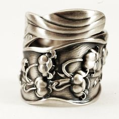 Wide Spoon Ring Unique Lily of the Valley Art Nouveau by Spoonier