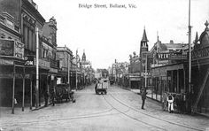 Bridge Street, Ballarat, c. Back in the days when Ballarat had trams - in 1910 Ballarat had electric trams, but where are the overhead wires? Is this an example of early photoshopping? State Library of Victoria Image Melbourne Victoria, Victoria Australia, Melbourne Suburbs, Australian Continent, Largest Countries, Small Island, Historical Pictures, Urban Landscape, Tasmania