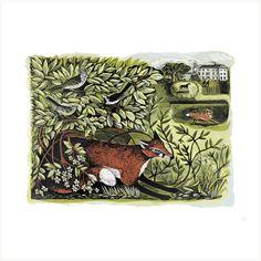 Summer Foxes at Marske Hall - Screenprint & Linocut by printmaker Angela Harding.