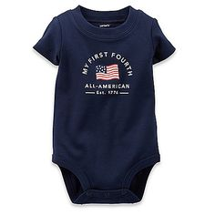 """This """"My First Fourth"""" Bodysuit by Carter's lets your little one celebrate the holiday in fun, patriotic style with a proud flag print on the front. It's made of soft cotton with short sleeves for cool comfort and has bottom snaps for easy diaper changes."""