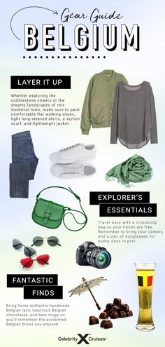 Don't forget to pack these items when you explore the cobblestone streets of Belgium. Cruise Packing Tips, Travel Belgium, Visit Belgium, Cruise Destinations, Celebrity Cruises, European Vacation, Packing Light, What To Pack, Lightweight Jacket