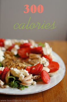 300 calories strawberry chicken salad, 5:2 fast dinner, #calories, #kcal