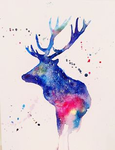A starry deer-original watercolour painting by Duillia