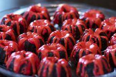 Volcano cakes... molten lava for Ali's bday!