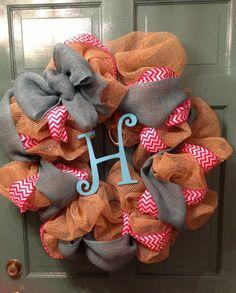 Custom Burlap Deco Mesh Wreath by KreationsbyKatelyn on Etsy, $50.00