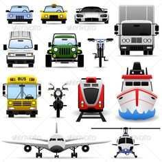 Transportation Vehicle Icon Set  #GraphicRiver         A set of transportation vehicles range from ground, water (sea) and air.   This includes a car, taxi, sport car, van, 4wd (mpv), bicycle, lorry (truck), bus, motorcycle (bike), train, ship (boat), airplane, and helicopter.