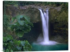 Buy Feng Shui horizontal fine art photo Rainbow Falls Cascading into Pool, Big Island, Hawaii, and fill your space with the refreshing waterfall energy.