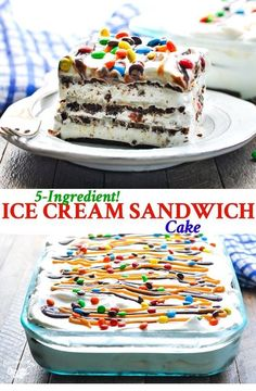 This Ice Cream Sandwich Cake is a no bake easy dessert recipe that'. This Ice Cream Sandwich Cake is a no bake easy dessert recipe that's perfect for your next summer party! Plus, it only requires about 10 minutes of prep! No Bake Summer Desserts, 13 Desserts, Ice Cream Desserts, Frozen Desserts, Ice Cream Recipes, Delicious Desserts, Ice Cream Cupcakes, Ice Cream Pies, Dessert Healthy