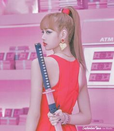 Miss Lisa with that katana ! Kim Jennie, Jenny Kim, Kpop Girl Groups, Korean Girl Groups, Kpop Girls, Blackpink Lisa, Dance Gif, Rapper, K Pop