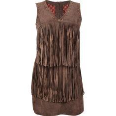 Wear this Durango® Leather Company Women's Kachina Dress. Dark brown leather fringe dress is Native American-inspired. Cowgirl Dresses, Cowgirl Outfits, Western Outfits, Western Wear, Cowgirl Clothing, Cowgirl Fashion, Hippie Fashion, Boho Hippie, Hippie Boho