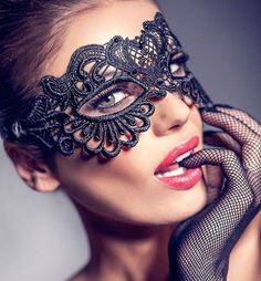 Mysterious Masquerade Mask for Women Lace Venetian by HigginsCreek