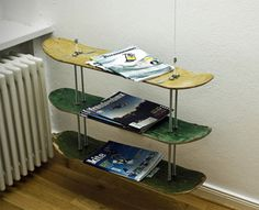 DIY skateboard shelf - upcycled