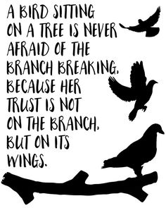 A bird sitting on a tree -  A bird sitting on a tree is never afraid of the branch breaking, because her trust is not on the branch but on it's own wings. A beautiful quote to bright up your day, packaged in a modern and professional design for multiple uses. Print it and hang it on your wall to remind yourself daily, or gift it to loved ones. This eye-catching design will make anybody pause for a second and reflect.  art collectibles digital prints digital art print