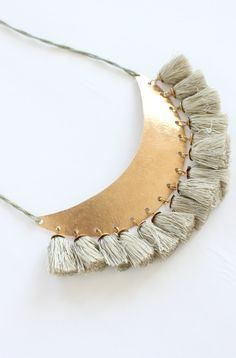 Hazel Cox - 'turkish moon' bronze and silk necklace