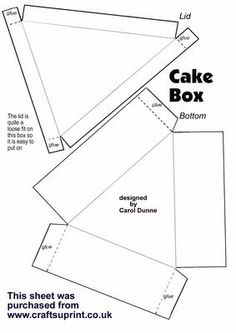 Cake box template on Craftsuprint designed by Carol Dunne - This is a blacnk template that you can decorate yourself to make a cake box. - Now available for download!