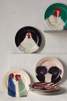 Anthropologie Gallus Dessert Plate Chicken No. 6 Anthro Exclusive By Holly Frean Ceramic Plates, Ceramic Pottery, Decorative Plates, Painted Plates, Anthropologie Display, Fancy Chickens, Backyard Chickens, Chicken Plating, Diy Home