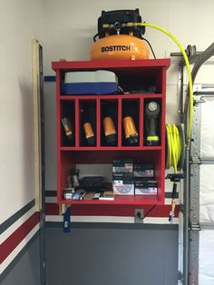 Air compressor cabinet and air tool storage – Garage Organization DIY Garage Tool Storage, Garage Tools, Locker Storage, Workshop Organization, Workshop Ideas, Garage Workshop, Garage Organization, Workshop Design, Organization Ideas