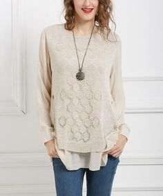 Another great find on #zulily! Beige Layered Honeycomb Tunic #zulilyfinds