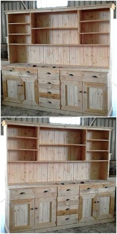 Another brilliant project that can be made with the help of re-hashing wood pallet is big cupboard. This offers enough space to hold all items of your need. It is combined with several drawers, cabinets and shelf for your convenience. This is styled in marvelous and delightful manner.