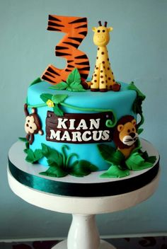 In the wilds - Cake by Iced Cakery Zoo Birthday Cake, Castle Birthday Cakes, Jungle Theme Birthday, Mickey Birthday, Baby 1st Birthday, Jungle Theme Cakes, Zoo Cake, Food Art For Kids, Cake Creations