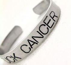 Fuck Cancer - Say It Big Hand Stamped Bracelet   foxwise - Jewelry on ArtFire