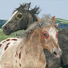 2 Painted Indian War Ponies - (Judy Larson).
